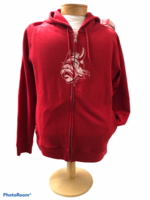 SWEATSHIRT SM. RED WMNS FULL ZIP WITH VIKING LOGO ALL WHITE DISTRESSED FULL FRONT
