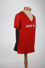 TSHIRT WMNS. VNECK RED WITH ANTHRACITE BACK