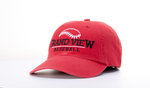 CAP - GRAND VIEW BASEBALL WITH BASEBALL ABOVE - RED TWILL ADJUSTABLE BACK