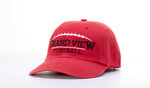 CAP - GRAND VIEW FOOTBALL WITH FOOTBALL ABOVE - RED TWILL ADJUSTABLE BACK