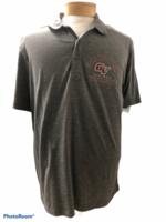 POLO SM. CHARCOAL/GRANITE HEATHER MENS POLO LIGHTWEIGHT COTTON W/GRAND VIEW ARCHED GV VKINGS UNIVERSITY BIGGER LEFT