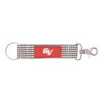 KEYSTRAP - NEWPORT GINGHAM BLACK AND WHITE WITH RED PATCH GV ALL WHITE IMPRINT
