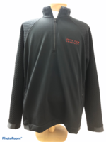 PERFORMANCE MD. BLACK 1/2 ZIP HD F19 MENS WITH HONEYCOMB SLEEVES AND BACK - GRAND VIEW UNIVERSITY SIMPLE SKINNY RED EMB
