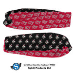 HEADBAND - CHEER GEAR DUO WITH 1/2 RED WITH GV LOGO AND 1/2 BLACK WITH VIKING LOGO FULL COLOR