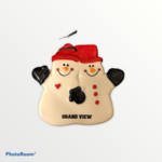 ORNAMENT - SNOWMAN ORNAMENT DOUBLE THE FUN RED HAT W/ BLACK MITTENS AND BLACK IMPRINT GRAND VIEW