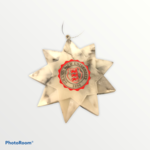 ORNAMENT - HOLIDAY STAR MARBLE WITH MULTI COLOR IMPRINT SCHOOL SEAL