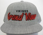 CAP - HEATHER GRAY, FLAT BILL WITH RAISED EMBROIDERED GRAPHIC
