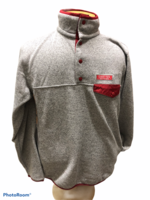 SWEATSHIRT XS. ASH WITH RED TRIM PATAGONIA STYLE BUTTON PLACKET GRAND VIEW UNIVERSITY EMB. LEFT CHEST