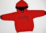 TODDLER RED HOODED SWEATSHIRT WITH BLACK LINED HOOD